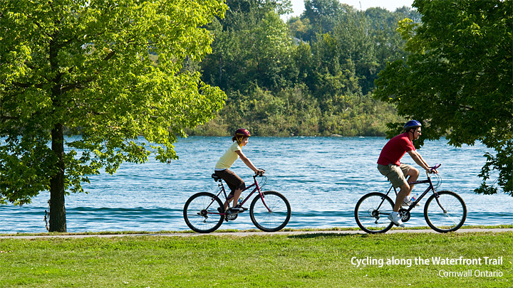 Cycling along the Waterfront Trail in Cornwall